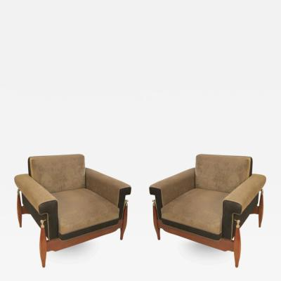 Unusual Pair of Sculptural Mid Century Modern Armchairs