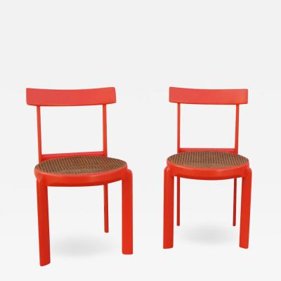 Unusual Set of two Caning and Orange Lacquer Chairs France 1970s