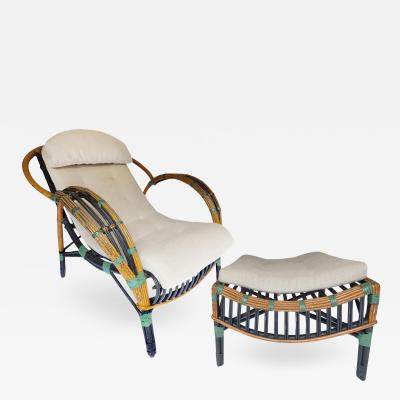 Unusual Twin Reed Lounge Chair and Ottoman
