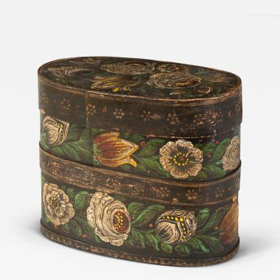 Unusual Wooden Oval Box Painted with Flowers