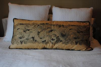 Unusual pair of large cushions in Antique French Textile
