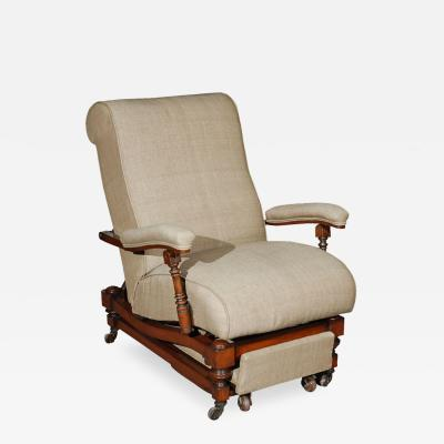 Upholstered Reclining Chair in Mahogany that Converts to a Lounge