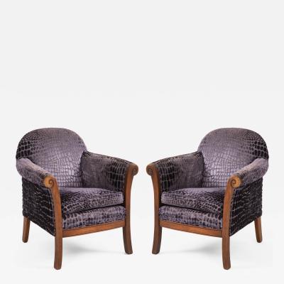 Upholstered Textured Purple Velvet Club Side Chairs