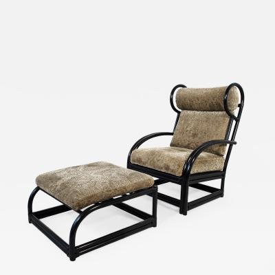 Upholstered Wingback Bamboo Armchair and Ottoman circa 1970 France