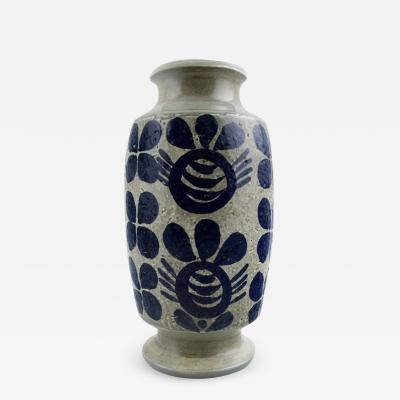 Upsala Ekeby Ceramic Vase dark blue decoration on gray base