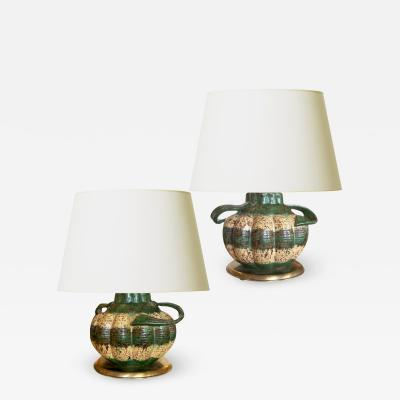 Upsala Ekeby Charming pair of gourd form table lamps by Upsala Ekeby
