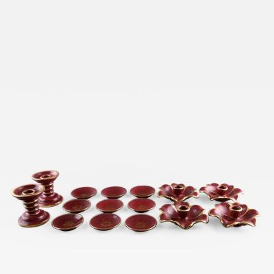 Upsala Ekeby Collection Red Rubin pottery with red glaze with gold