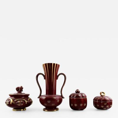 Upsala Ekeby Collection of Red Rubin pottery with red glaze with gold