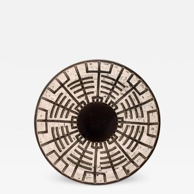 Upsala Ekeby Dish in glazed stoneware with geometric pattern