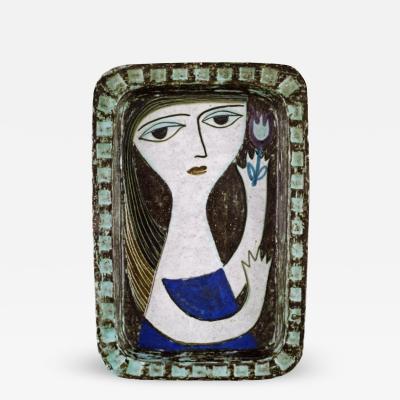 Upsala Ekeby Dish in glazed stoneware with portrait of woman