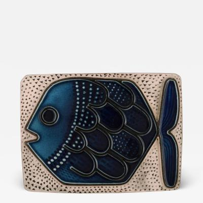 Upsala Ekeby Glazed ceramic wall plaque decorated with fish