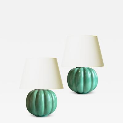 Upsala Ekeby Pair of Lobed Jade Green Lamps by Upsala Ekeby