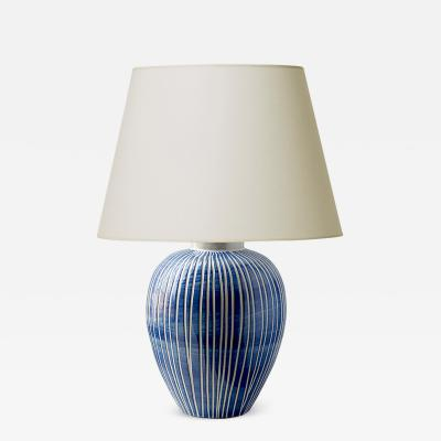 Upsala Ekeby Striped table lamp by Ekeby