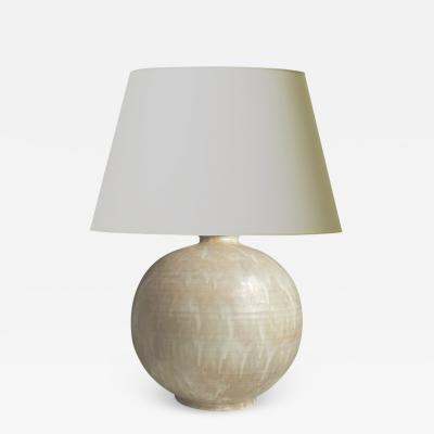 Upsala Ekeby Table Lamp in Flowing Ivory Glazing by Uppsala Ekeby