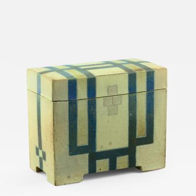 Ursula Scheid Ceramic Box by Ursula Scheid with Blue and White Glaze Own Studio Germany