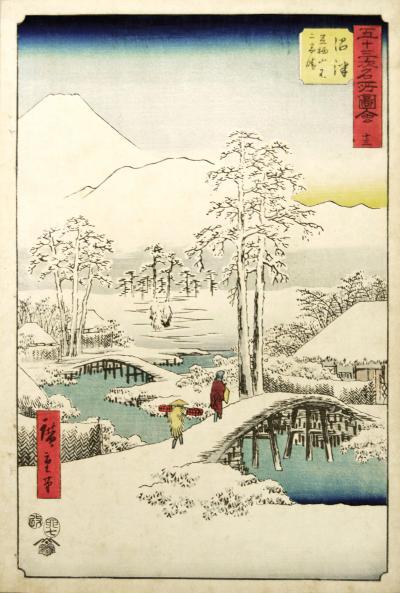 Utagawa Hiroshige Numazu in snow