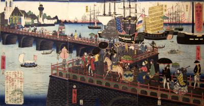 Utagawa Hiroshige Port of London showing London Bridge spanning the Thames River