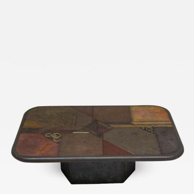 V Ramburrem Slate and Bronze Coffee Table V Ramburrem Paul Kingma Style circa 1985