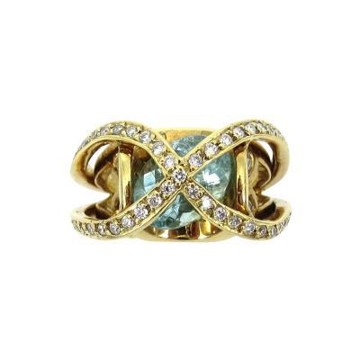 VINTAGE 18KT GOLD DIAMOND PARAIBA TOURMALINE RING