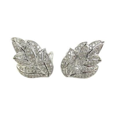 VINTAGE 18KT WHITE GOLD DIAMOND LEAF EARRINGS