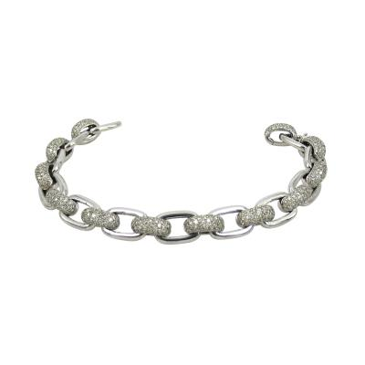 VINTAGE 18KT WHITE GOLD DIAMOND LINK AND HOOP BRACELET