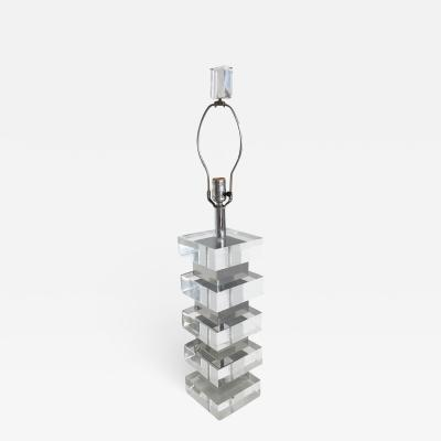 VINTAGE CHUNKY STACKED SQUARES LUCITE LAMP