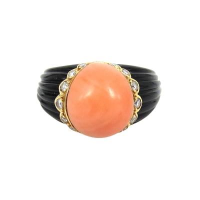 VINTAGE FRECH CORAL ONYX AND DIAMOND RING