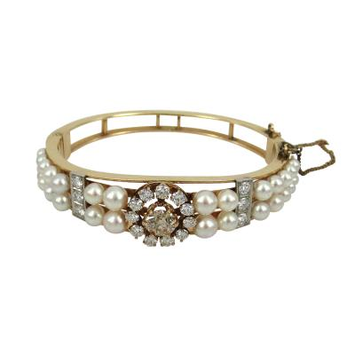 VINTAGE GOLD PEARL AND DIAMOND BANGLE