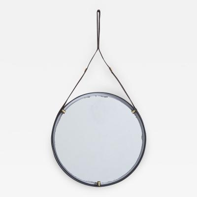VINTAGE ITALIAN FLOATING IRON AND LEATHER MIRROR
