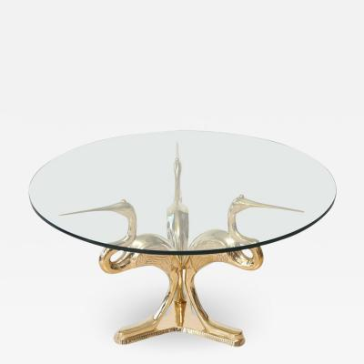VINTAGE ITALIAN POLISHED BRASS BIRD TABLE WITH GLASS TOP