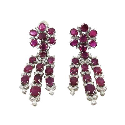 VINTAGE PLATINUM DIAMOND RUBY DAY NIGHT EARRINGS