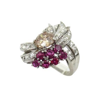 VINTAGE PLATINUM DIAMOND RUBY RING