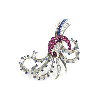 VINTAGE PLATINUM DIAMOND SAPPHIRE AND RUBY LARGE PIN
