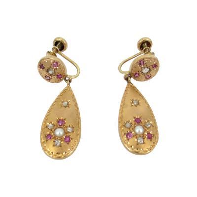 VINTAGE ROSE GOLD DIAMOND PEARL RUBY DANGLE EARRINGS