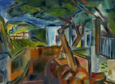 Vaclav Vytlacil Landscape with Houses and Trees