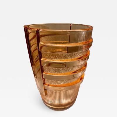 Val Saint Lambert Val Saint Lambert Peach Modernist Art Deco Vase
