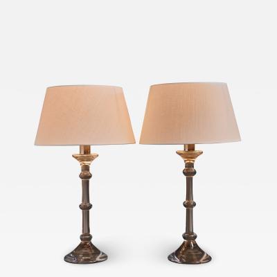 Val St Lambert Ingo Maurer pair of table lamps for Val Saint Lambert 1969