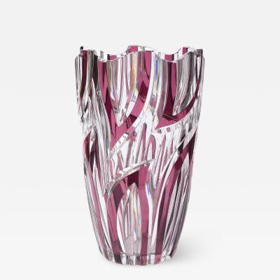 Val St Lambert Mid Century Translucent Crystal Violet Tourmaline Vase by Val St Lambert