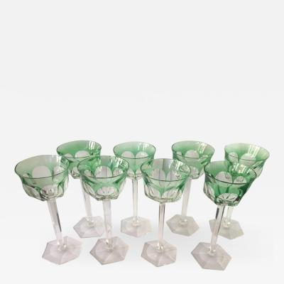 Val St Lambert Set of Eight Osram Val Saint Lambert Green Wine Glasses