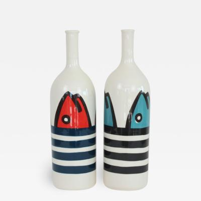 Val rie Le Roux Set of 2 Contemporary Ceramic Bottles with Nautical Motifs Marini re