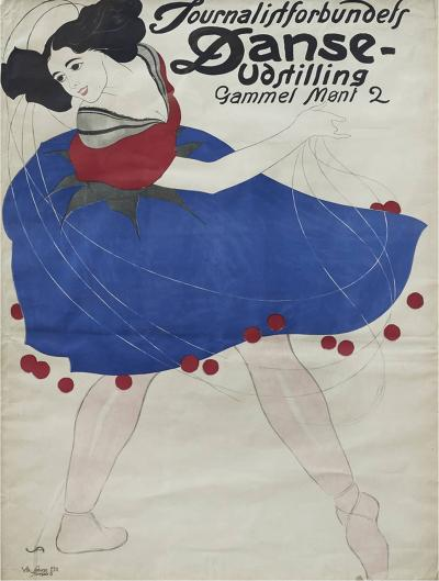 Valdemar Andersen LITHOGRAPHIC POSTER DANCE EXHIBITION BY THE DANISH ASSOCIATION OF JOURNALISTS