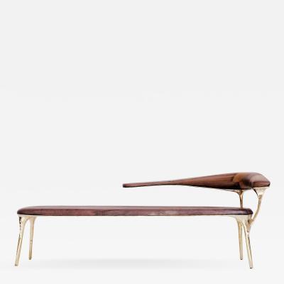 Valentin Loellmann Brass and Walnut Lounge Chair