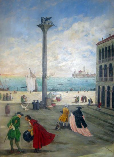 Valerio Zerbo San Marco Piazza Large Oil Painting by Valerio Zerbo