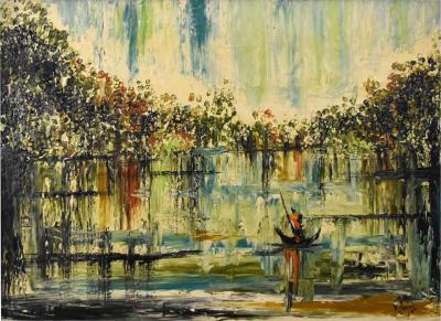 Van Hoople Mid century modern hillside original landscape impasto oil painting