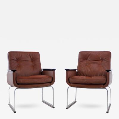 Vatne Mobler Pair of Scandinavian Modern Steel Leather Armchairs by Vatne M bler