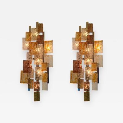 VeArt Pair of Sconces by VeArt Murano Glass Italy 1970s