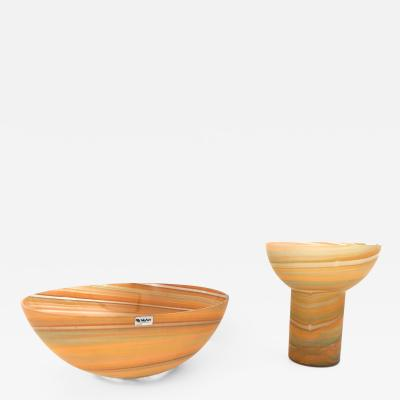 VeArt Set of Bowl and Vase by VeArt Italy 1970s
