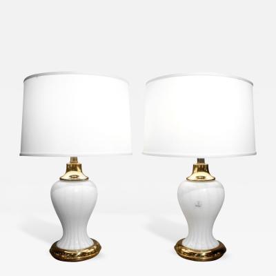 Vedar Vetri dArte Pair of Murano Hand Blown White Glass Lamps 1970s