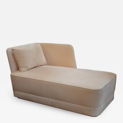 Velvet and Leather Chaise Longue