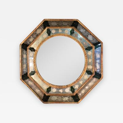 Venetian 18th Century Octagonal Etched Glass Mirror